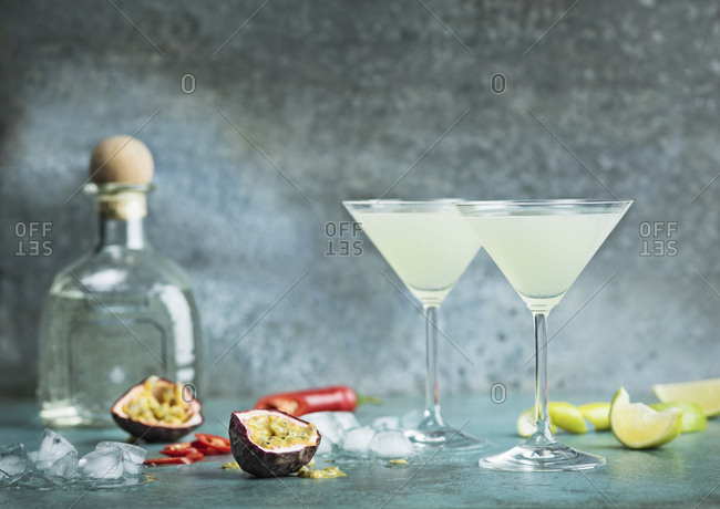 Two glasses of cocktail and fruits