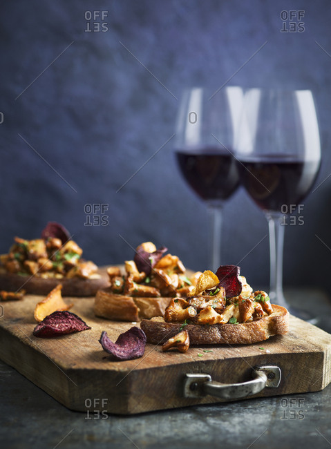 Toasts with mushrooms