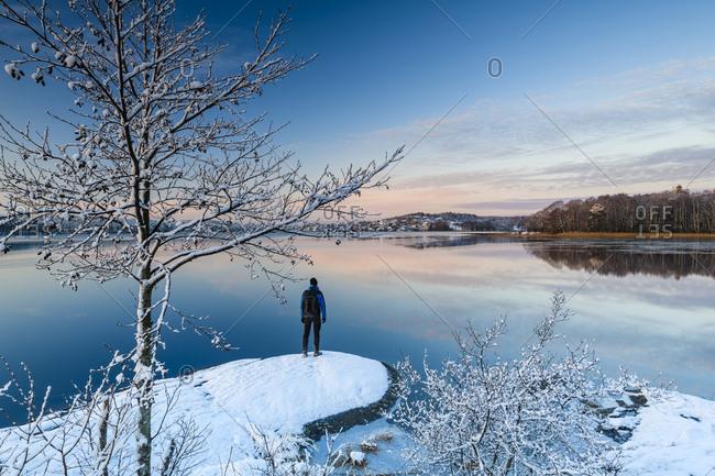 Man standing at lakeshore in winter