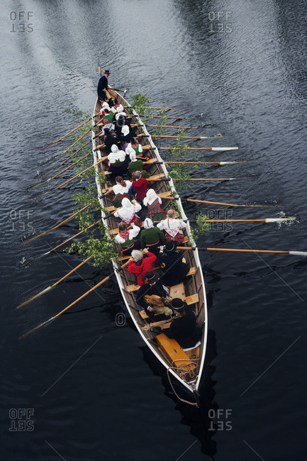 People on rowing boat