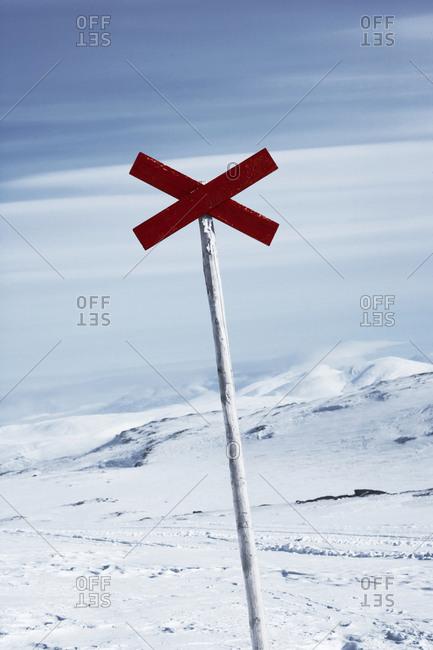 Sign in winter landscape