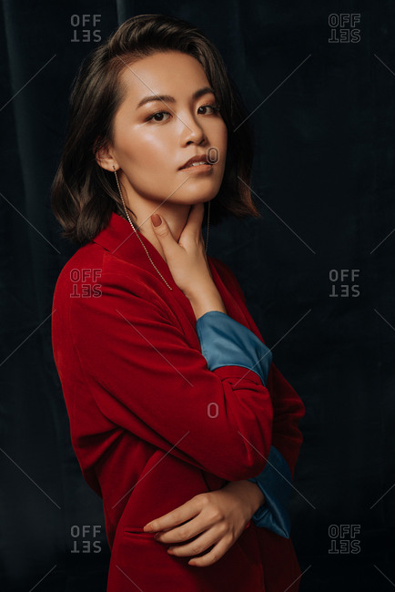 Young Asian woman dressed in velvet