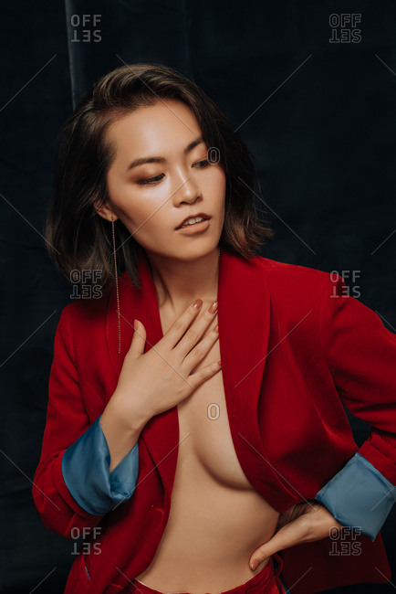 Young Asian woman in velvet