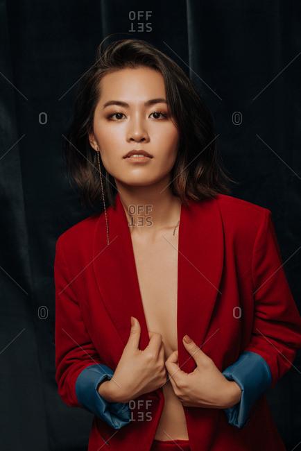Young Asian woman wears velvet