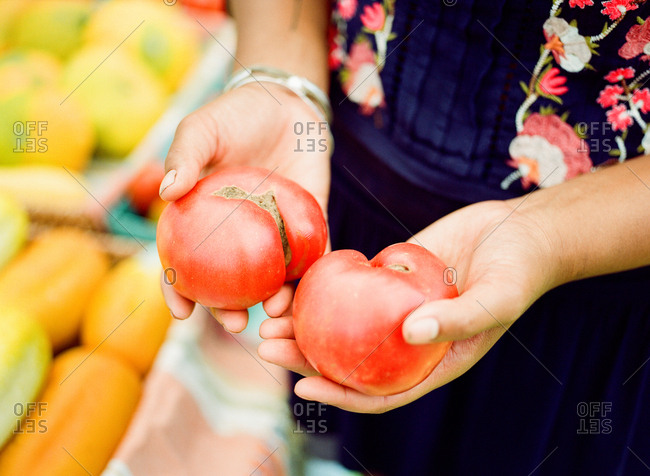 Woman holding organic tomatoes at outdoor market