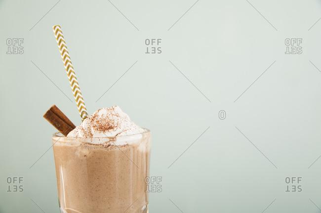 Cinnamon mint milkshake topped with whipped cream