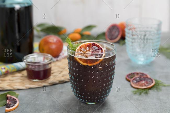 Freshly made blood orange drink
