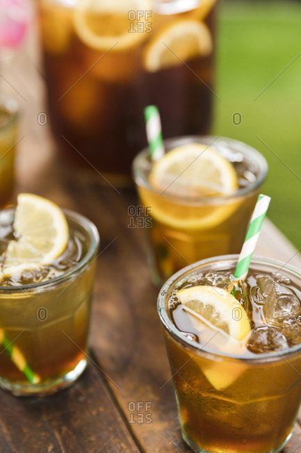 Drinking glasses filled with lemonade iced tea