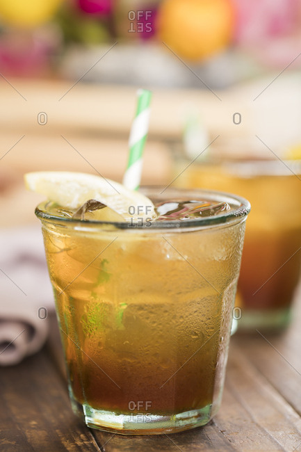 Glass of lemonade iced tea