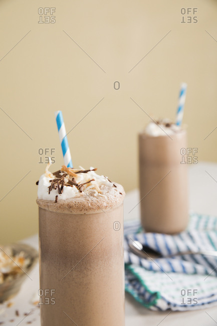 Chocolate milkshakes topped with whipped cream