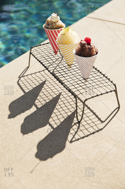 Snow cones served poolside
