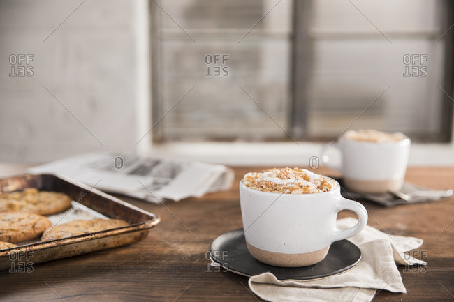 Coffee served with freshly baked cookies