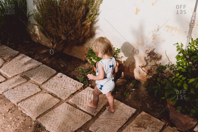 Little girl carefully walking along stone path in backyard