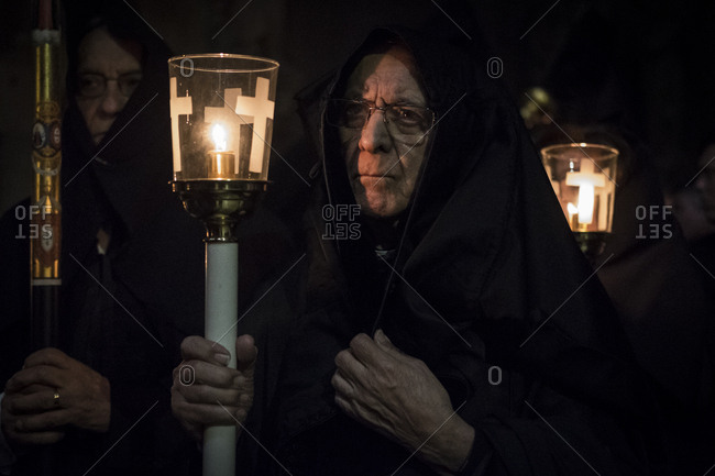 Braga, Portugal - April 14, 2017: Burial Theophoric Procession at Braga Cathedral