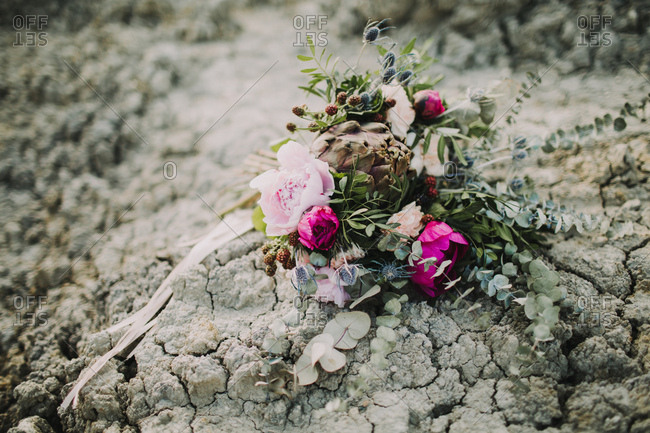 Bouquet of flowers lies on dry ground