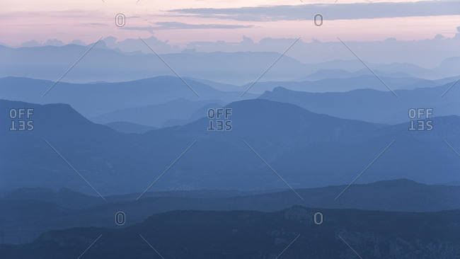 Colorful sky at sunrise over the French Alps from Mont Ventoux, France