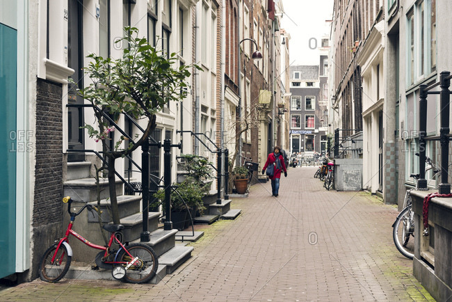 Amsterdam, Holland - February 14, 2018: Atmospheric city view of Amsterdam in the Netherlands