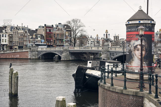 Amsterdam, Holland - February 14, 2018: Bridge over canal in Amsterdamn