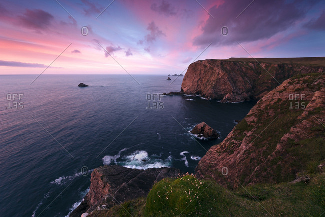 Colorful sunset at Benwee Head, County Mayo, Ireland