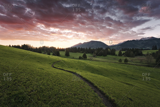 Dramatic sunrise in the Allgsu region, Bavaria, Germany