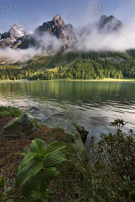Lake Sils near St. Moritz, Grisons, Switzerland