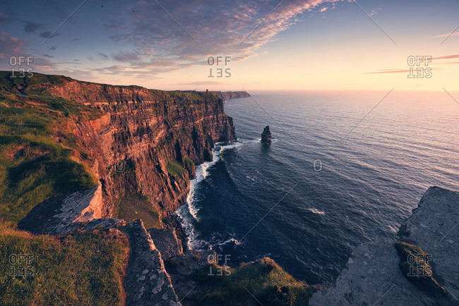 Cliffs of Moher, red illuminated by setting sun, Ireland