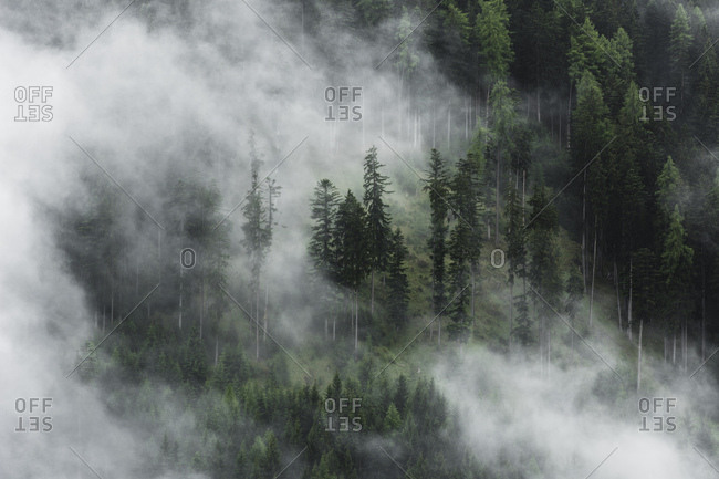 View of misty mood in the Dolomite Alps with telephoto lens, Italy