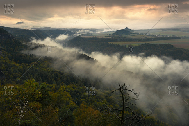 Mist over the Elbe river in Saxon Switzerland, picturesque sunrise, Germany