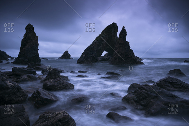 The Breeches rock formations, Crohy Head, County Mayo, Ireland, daybreak, Blue Hour,