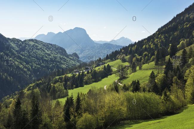 Green hills in Kaisertal Valley in Tyrol, Austria