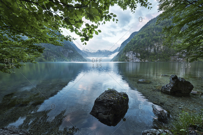 Lake Koenigssee in Berchtesgadener Land, Bavaria, Germany