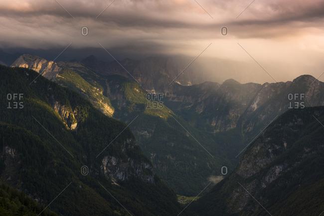 View into the valley of Trenta in evening light, Kanjavec peak, Mali Spicje, Velika Ticharica, Triglav national park, Slovenia