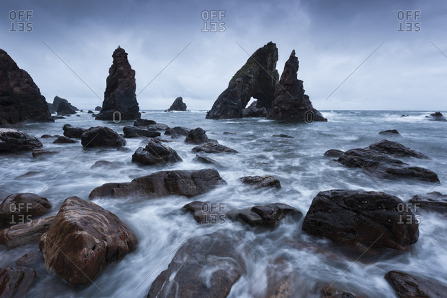 Long exposure of The Breeches in Morning Blue Hour, Crohy Head, County Mayo, Ireland