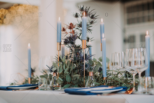 Decor on a wedding reception table