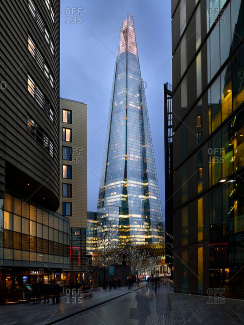 December 2, 2017: Pedestrian zone and view of The Shard at dusk, London, UK