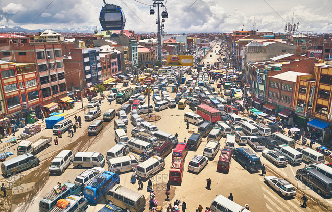 December 8, 2017: Elevated view of traffic in city, El Alto, La Paz, Bolivia, South America