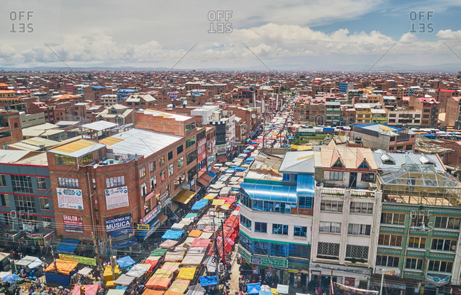 December 8, 2017: Elevated view of city streets, El Alto, La Paz, Bolivia, South America