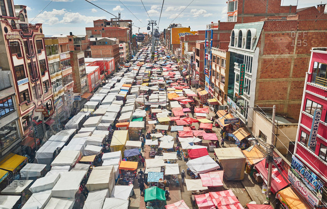 December 10, 2017: Elevated view of street market, El Alto, La Paz, Bolivia, South America