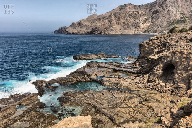 Rocky coastline and sea, Nova Sintra, Brava, Cape Verde, Africa