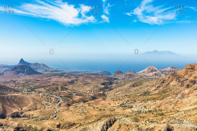 Elevated view of Fogo Island volcano from Serra da Malagueta, Santiago, Cape Verde, Africa