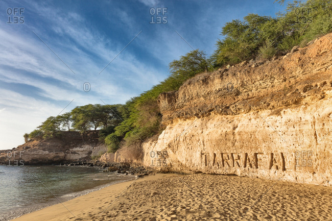 Place name carved into cliff on beach, Tarrafal, Cape Verde, Africa
