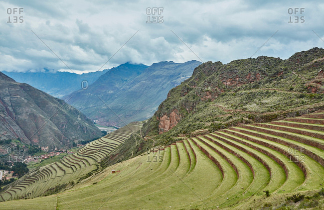 Terraced fields and distant mountains, Pisac, Cusco, Peru