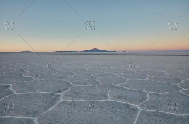 Scenic view of salt flats, Salar de Uyuni, Uyuni, Oruro, Bolivia, South America