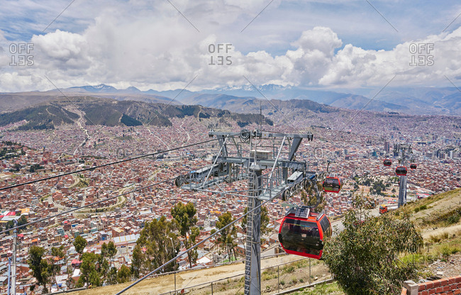 Elevated view of city with cable cars in foreground, La Paz, Bolivia, South America