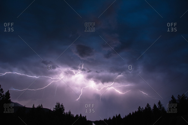 Lightning in sky over Canadian Rocky Mountains, Kootenay Region, Fernie, British Columbia, Canada