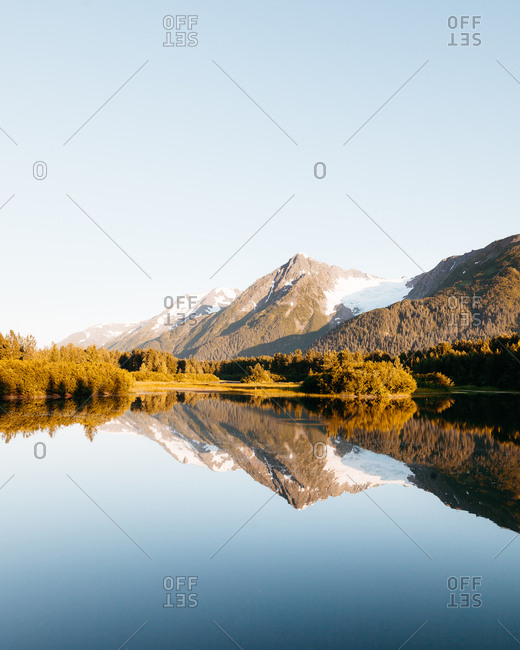 Mountain reflecting on a small lake in Palmer Alsaka