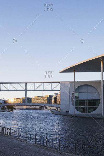 Berlin, Germany - October 8, 2017: Regierungsviertel- Marie-Elisabeth-Lueders-Building at Spree river- sunset