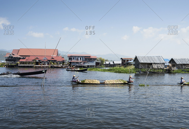 Inle lake, Myanmar - November 1, 2017: Burmese fisherwomen selling goods