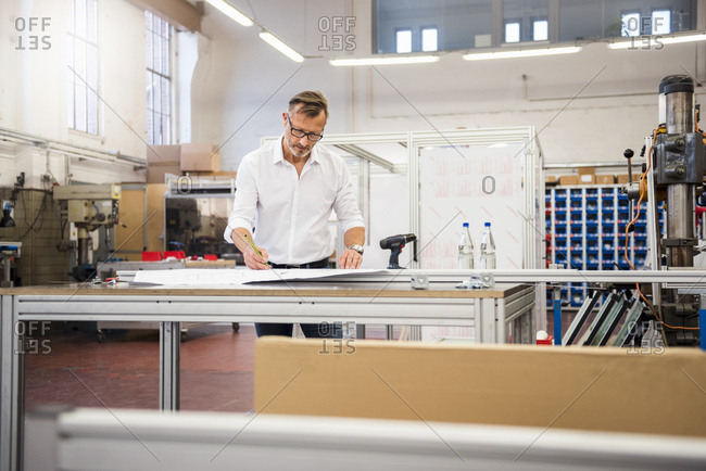 Mature businessman in factory working on plan
