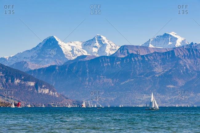 Switzerland- Canton of Bern- Lake Thun and alpine panorama